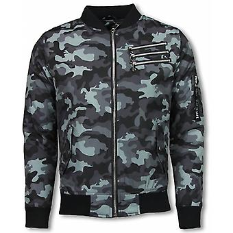 Bomber Jacket-Camouflage Print with 3 zippers-grey