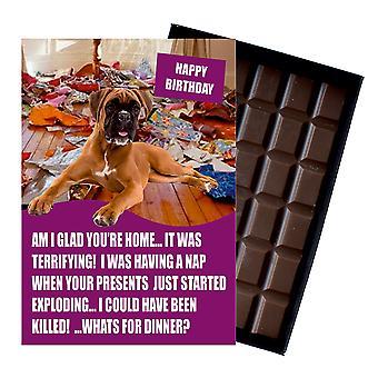 Boxer perro divertido cumpleaños regalos para el amante del perro en caja tarjeta de felicitación de chocolate presente