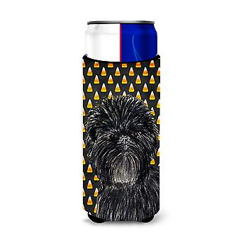 Affenpinscher Candy Corn Halloween Portrait Ultra Beverage Insulators for slim c