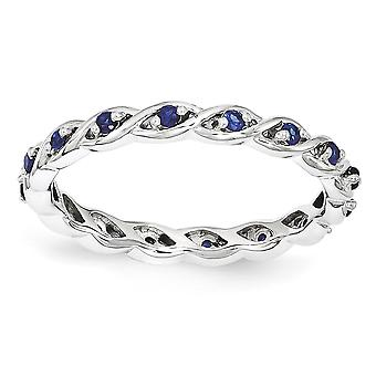 2.5mm 925 Sterling Silver Polished Prong set Rhodium plated Stackable Expressions Created Sapphire Ring Jewelry Gifts fo