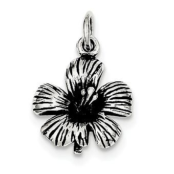 925 Sterling Silver Solid Textured Polished Antique finish Antique Hibiscus Flower Charm - 2.2 Grams