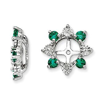 925 Sterling Silver Rhodium-plated Diamond and Created Emerald Earrings Jacket - .007 dwt .48 cwt