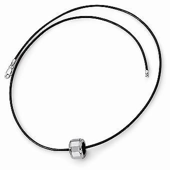 Cordón de cuero de tungsteno langosta garra cierre pulido collar cordón - 18 pulgadas