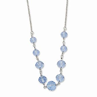 Silver tone Fancy Lobster Closure Blue Crystal Beaded 16 Inch With ext Necklace Jewelry Gifts for Women