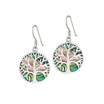 Eternal Collection Tree Of Life Abalone Sterling Silver Drop Pierced Earrings
