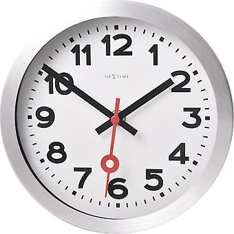 NeXtime - Horloge murale/ Horloge de table - 19 cm - Aluminium - Brossé - 'apos;Station Numbers'apos;