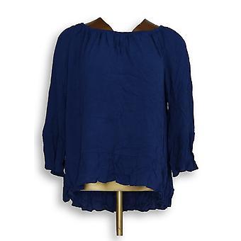 Du Jour Women's Top Bell Sleeve Crinkle Gauze Off the Shouldr Blue A293730