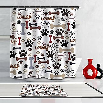 "Dog's Paws And Bones ""Woof!"" Shower Curtain"