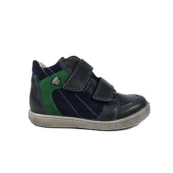 Ricosta Chris 2530200-172 Navy Nubuck Leather Boys Rip Tape Ankle Boot