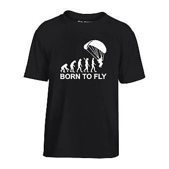 T-shirt bambino nero dec0112 evoluzione paracadutismo nato per volare