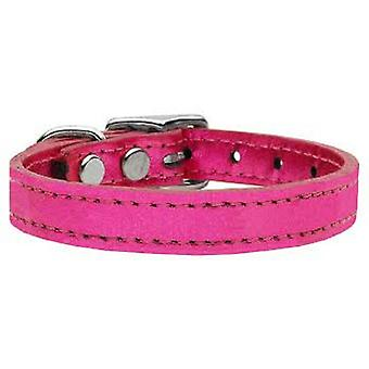 Pink Leather Dog Collar matching Lead Set