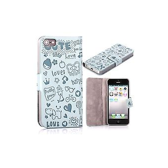 Blue Sky Cover Magnetic Horizontal Opening Cartoon Pattern For IPhone 5