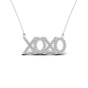 Igi certified s925 sterling silver 0.2ct tdw diamond xoxo necklace