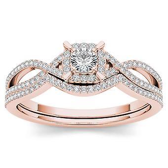Igi certifierade 14k steg guld 0,37 ct rund diamant halo bröllop engagment ring