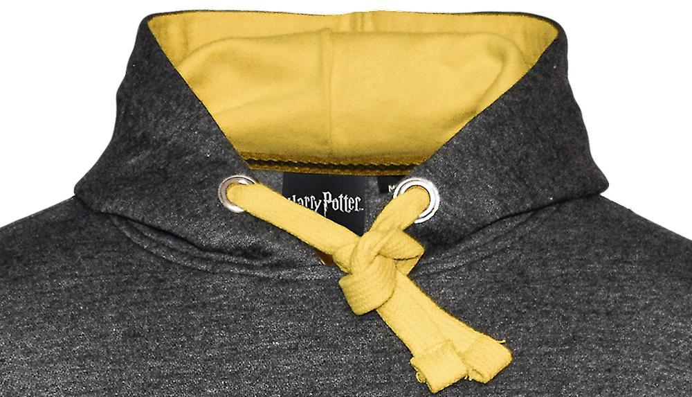 Licensed unisex hufflepuff™ hooded hoodie sweatshirt-charcoal harry potter™