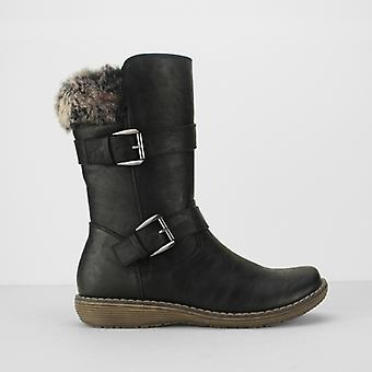 Cipriata Bella Ladies Faux Fur Collar Buckle Mid Calf Boots Black
