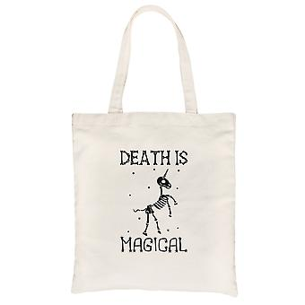 La muerte es Megical Unicorn Skeleton Funny Halloween Natural Canvas Shoulder Bag