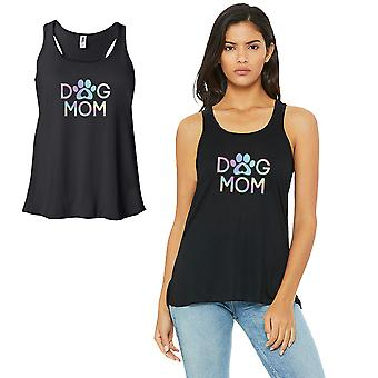 Dog Mom-SPECTRUM Work Out Womens Black Tank Top Vinyl Printed