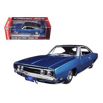 Custom 1969 Dodge Charger 500 Blue Poly 1/24 Diecast Model Car di Autoworld