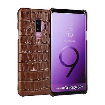 Pour Samsung Galaxy S9MD PLUS Case,Crocodile Shell Genuine Cow Leather Cover,Brown