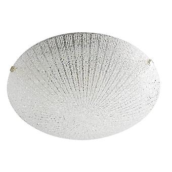 THLC Contemporary Led Flush Ceiling Light With Ribbed Glass Shade