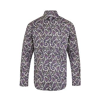 JSS Floral Purple Regular Fit 100% Cotton Shirt