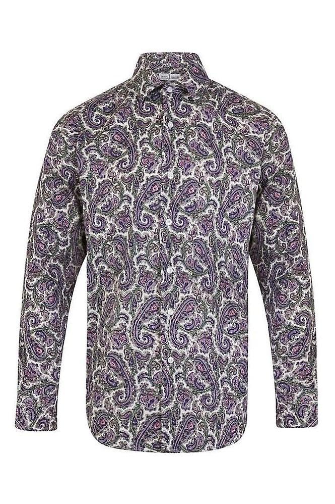 JSS Floral Purple Regular Fit 100% Cotton Shirt