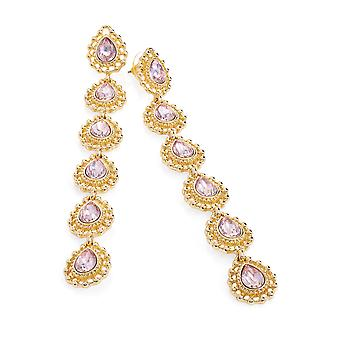 Shiny Gold & Rose Pink Colour Bead 10.5cm Drop Earrings