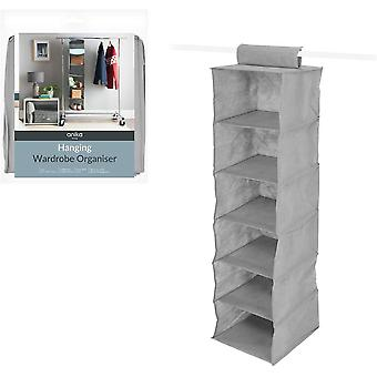 Benross Anika 6 Shelf Hanging Wardrobe Organiser - Grey