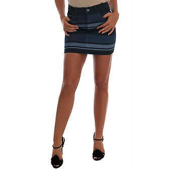 Dolce & Gabbana Blue Short Striped Mini Denim Skirt