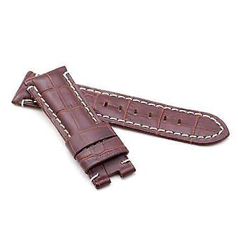 Crocodile grain calf leather watch strap brown premium strap for panerai 22mm to 24mm