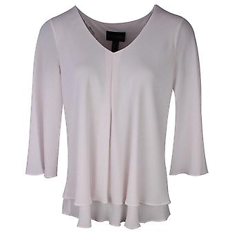 Frank Lyman Vanilla V Neck Cut Away Sleeve Layered Top