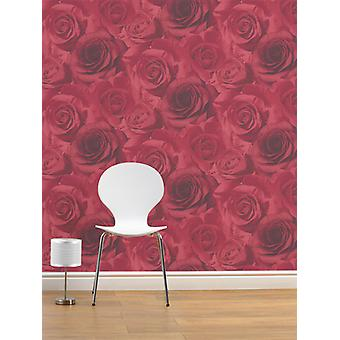 Madison Rose Floral Wallpaper Red Muriva 11950