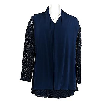 Susan Graver Women's Top Knit And Lace Cardigan And Tank Set Blue A366331