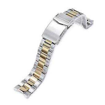Bracelet de montre Strapcode 20mm super huître 3d huître 316l bracelet de montre en acier inoxydable pour seiko alpinist sarb017, deux tons ip or v-clasp