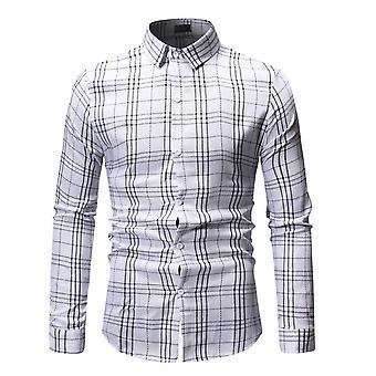Allthemen Men's Slim Fit Shirt Carouri imprimate cu maneca lunga T-shirt Work Wear Allthemen Men & apos;s Slim Fit Shirt Carouri imprimate cu maneca lunga T-shirt