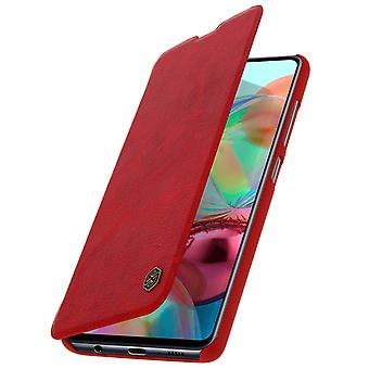 Capa de protecçao Galaxy A71 Porta-cartoes couro autentico Vermelho