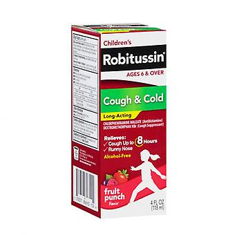 Robitussin children's cough & cold long-acting liquid, fruit punch, 4 oz