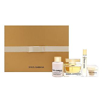 Dolce & gabbana die für Frauen 4 Stück Set enthält: Eau de Parfum Spray + parfümierte Körperlotion + 0,2 oz Eau de Parfum Spray + schimmerndes Pulver