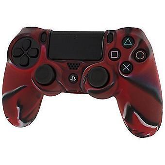 リブ付きハンドル グリップ PS4 - 迷彩赤と pro ソフト シリコン保護カバー