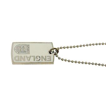 """England Official Crest Hologram Gents Silvertone Metal Dog Tag on a 21"""" Chain"""