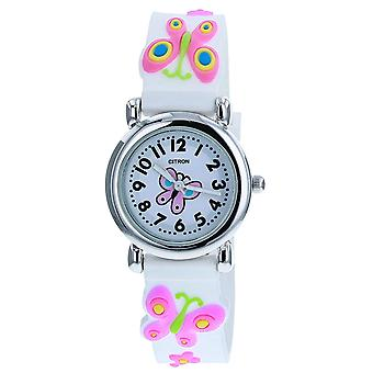 Citron KID156 Analogue Girls 3D Pink Butterfly Motiff White Silicone Strap Watch