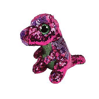 TY Flippable Stompy Pink/Green Sequin Dinosaur Medium