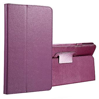For Samsung Galaxy Tab A 8.0 SM-T380,T385 Case,Lychee Leather Cover,Purple