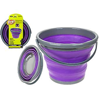Top Pop 10L Space Saver Silicone Fold Flat Bucket Opvouwbare Camping Opslag Outdoor Travel - Paars