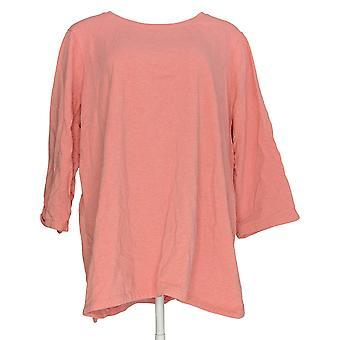 Denim & Co. Frauen's Plus Top Essentials Rundhals Heathered Pink A304645