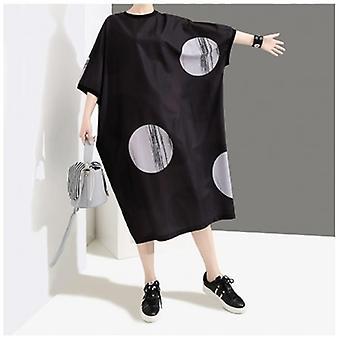 Half Sleeve Dot Printed Lose Big Size Oversize Dress