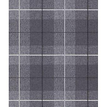 Arthouse Country Tartan Wallpaper Check Paste The Wall Vinyl Charcoal