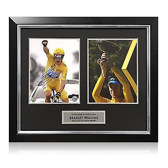 Bradley Wiggins Signeret Cycling Foto: Tour de France Celebration. Indrammet