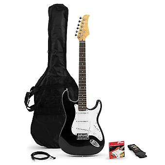 Tiger Beginners Full Size Black Electric Guitar Bundle - Strap, Picks